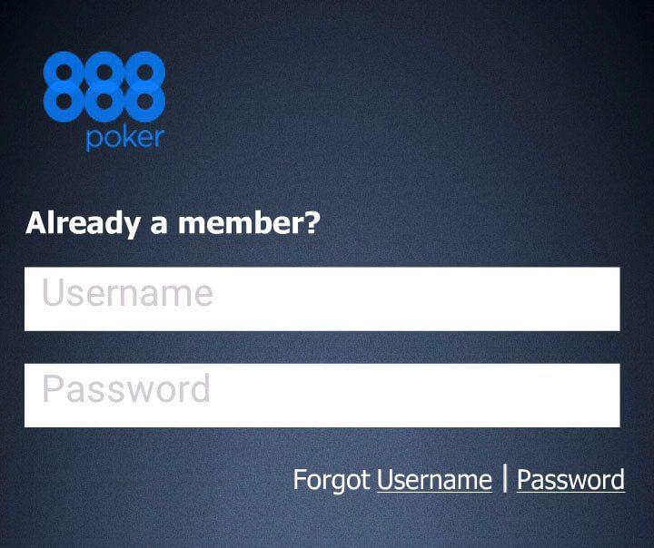 Логин и пароль в app 888Poker