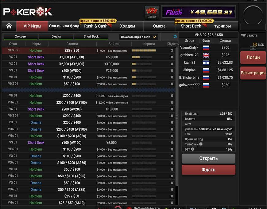 Форматы игр в лобби рума PokerOK